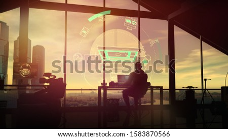 Virtual projection and silhouette of a videographer in his studio at sunset. Stock photo © ConceptCafe