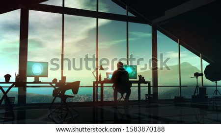 Photographer at the computer in his studio with panoramic windows. Stock photo © ConceptCafe