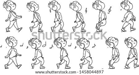 Toplama dans genç simgeler animasyon ayarlamak Stok fotoğraf © vasilixa