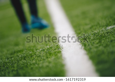 Sports grass field pitch and white sideline. Sports player walking in the blurred background  Stock photo © matimix