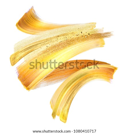 Cosmetics abstract texture background, golden acrylic paint brus Stock photo © Anneleven