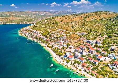 Zatoglav village near Rogoznica idyllic coastline aerial view Stock photo © xbrchx