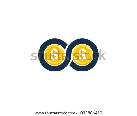 Nieskończoność monety znak dolara ikona projektowanie logo Zdjęcia stock © kyryloff