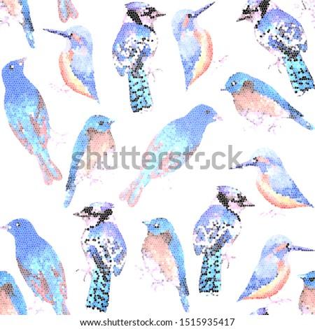 Vad madarak mozaik hatás végtelenített Amerika Stock fotó © shawlinmohd