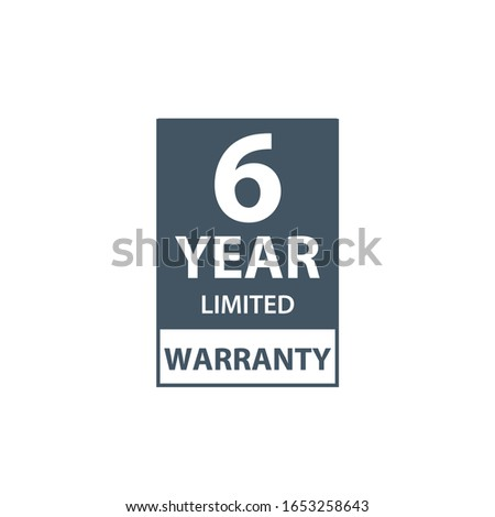 6 years limited warranty icon or label, certificate for customers, warranty stamp or sticker. vector Stock photo © kyryloff