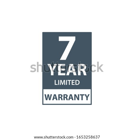 7 years limited warranty icon or label, certificate for customers, warranty stamp or sticker. vector Stock photo © kyryloff