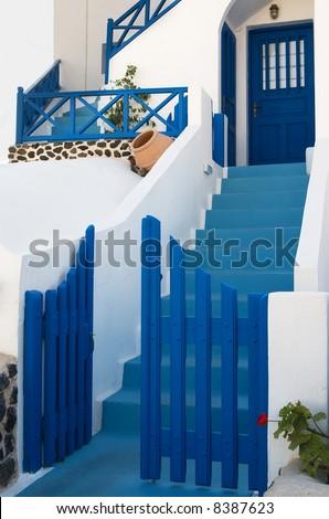 Streszczenie domu ściany drzwi wyspa santorini Zdjęcia stock © feverpitch
