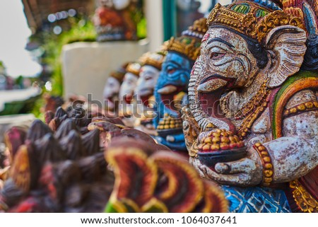 Typical souvenir shop selling souvenirs and handicrafts of Bali at the famous Ubud Market, Indonesia Stock photo © galitskaya