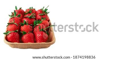 Szalag eprek fehér kosár friss gyönyörű Stock fotó © Illia