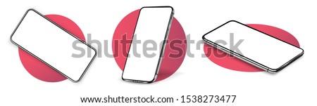 Valósághű vektor vázlat piros okostelefon képernyő Stock fotó © karetniy