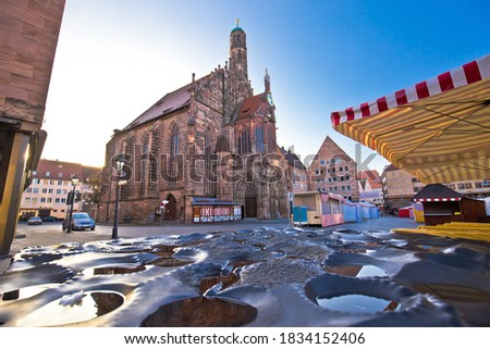Nurnberg. Nuremberg main square and church of Our Lady or Frauen Stock photo © xbrchx