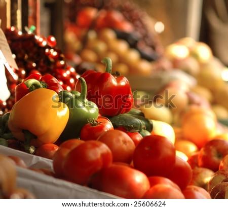 Legumes frescos supermercado pepinos espinafre Foto stock © ElenaBatkova