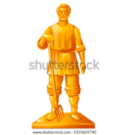 Golden statue in the shape of a peasant with a garden pitchfork isolated on white background. Vector Stock photo © Lady-Luck