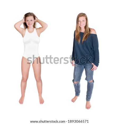 Pretty female with perfect fit body, wears summer clothing, spends spare time at seashore, enjoys wo Stock photo © vkstudio