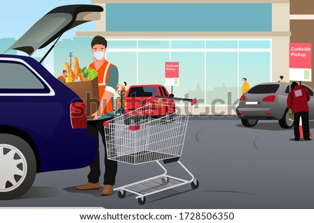 Grocery Worker Putting Groceries Inside a Car at Curbside Pickup Stock photo © artisticco