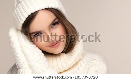 изображение девушки зима Hat шарф улыбаясь Сток-фото © deandrobot