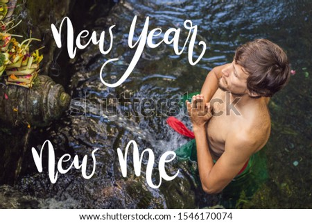 NEW YEAR NEW ME concept Man in holy spring water temple in bali. The temple compound consists of a p Stock photo © galitskaya