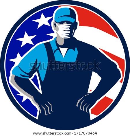Amerikaanse supermarkt werknemer masker USA Stockfoto © patrimonio