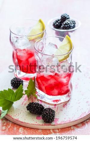 夏 カクテル ブラックベリー ピンク レモネード 結晶 ストックフォト © DenisMArt