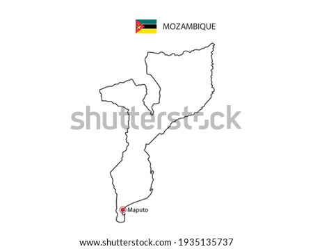 Mozambique flag and hand on white background. Vector illustration Stock photo © butenkow