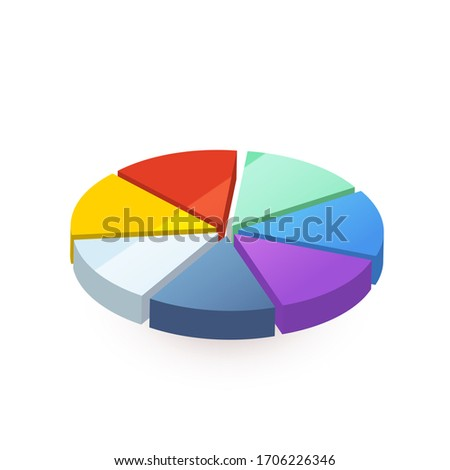 Bright colourful pie diagram divided in seven pieces on white Stock photo © evgeny89