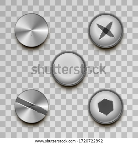 Realistic glossy metal screws and rivets on transparent background Stock photo © evgeny89