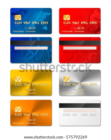 Set of realistic credit cards from both sides in different designs include gold and platinum on whit Stock photo © evgeny89