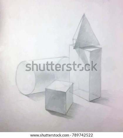 Still Life with basic geometric figures, academic drawing concept Stock photo © evgeny89