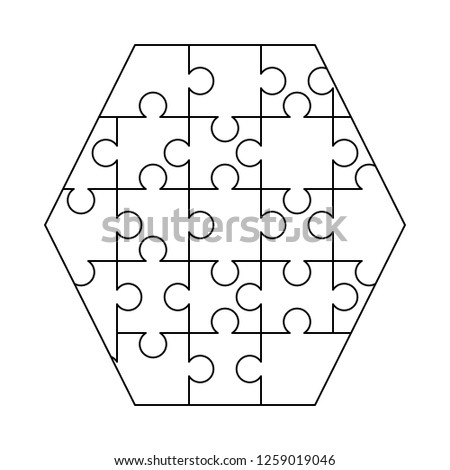 White puzzles pieces arranged in a hexagon shape. Jigsaw Puzzle template ready for print. Cutting gu Stock photo © evgeny89