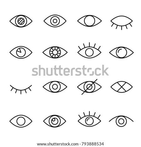 Zestaw inny oka rzęsy znaki proste Zdjęcia stock © evgeny89