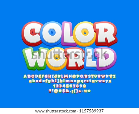 Logo design Kids World - in Cartoon Style. Bright Funny Banner for Children Stock photo © natali_brill