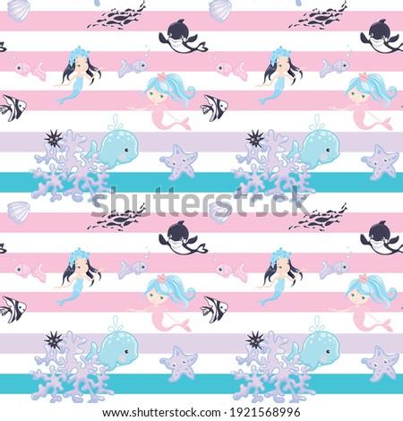 Naadloos zeemeermin zee dier cartoon stijl Stockfoto © bluering