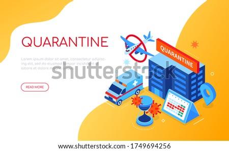 Covid-19 virus and quarantine - colorful isometric web banner Stock photo © Decorwithme