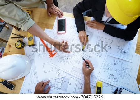 Architecture Engineer Teamwork Meeting, Drawing and working for  Stock photo © Freedomz