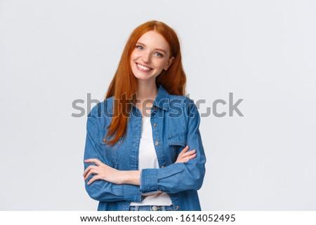 Bem sucedido feminino estudante gengibre cabelo agradável Foto stock © vkstudio