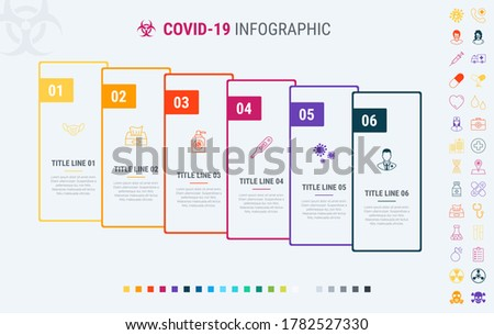 Timeline covid-19 infographic design vector. 6 steps, graph workflow layout. Vector coronavirus info Stock photo © ukasz_hampel