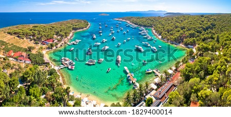 Island of Hvar and Pakleni islands archipelago bay aerial evenin Stock photo © xbrchx