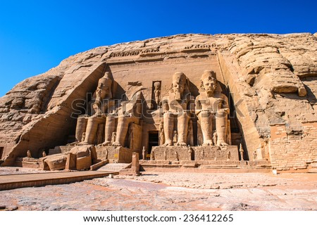 Landmark of the famous Ramses II statues at Abu Simbel in Egypt Stock photo © bbbar