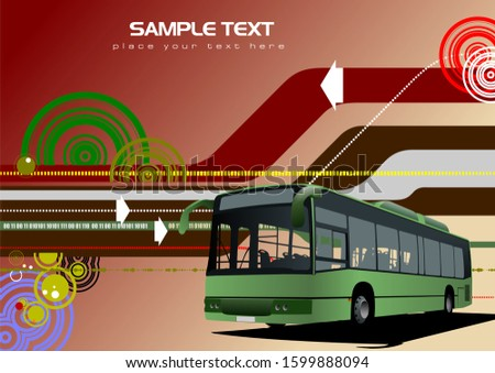 Abstract hi-tech background with city bus image. Vector illustra Stock photo © leonido
