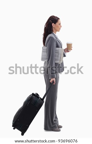 Profile of a businesswoman with a suitcase against white background stock photo © wavebreak_media