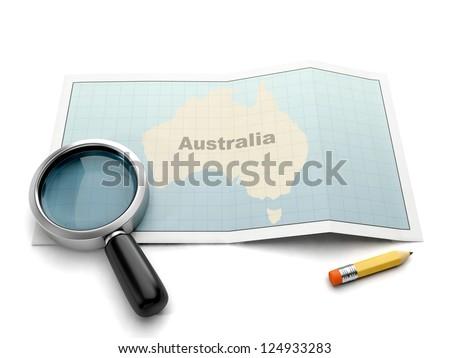 Pesquisar mapa Austrália lupa cartão branco Foto stock © kolobsek