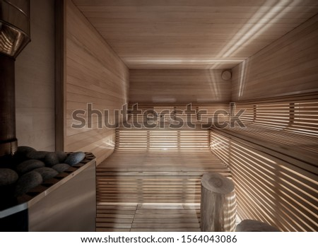 Two buckets for water with ladles in an interior of the Finnish sauna Stock photo © Alenmax