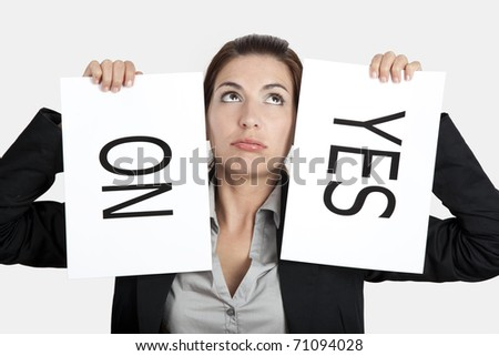 Business young woman trying to make a decision between Yes or No Stock photo © dacasdo