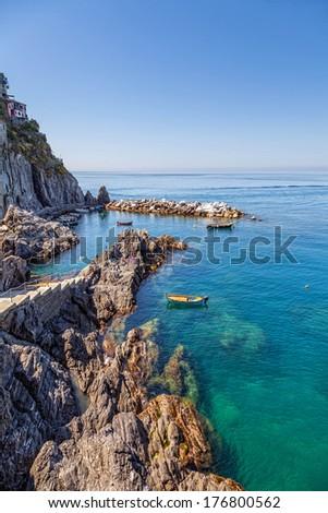 Blue Sea Surface and Rocks near Manarola in Cinque Terre, Italy Stock photo © anshar