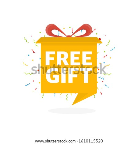 free gift with present box symbol in red white banner - letters  Stock photo © marinini