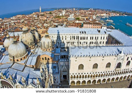 overlooking the marcus church in venice from campanile de san ma stock photo © meinzahn