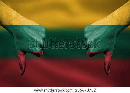 lithuania national flag thumbs down gesture for failure made wit Stock photo © vepar5