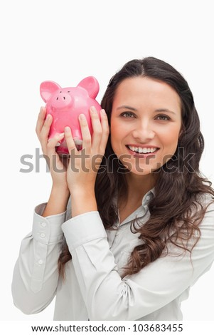 tonen · spaarvarken · afbeelding · roze · glimlachend · vrouwelijke - stockfoto © stokkete
