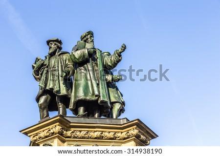 statue of Johannes Gutenberg, inventor of book printing, Frankfu Stock photo © meinzahn