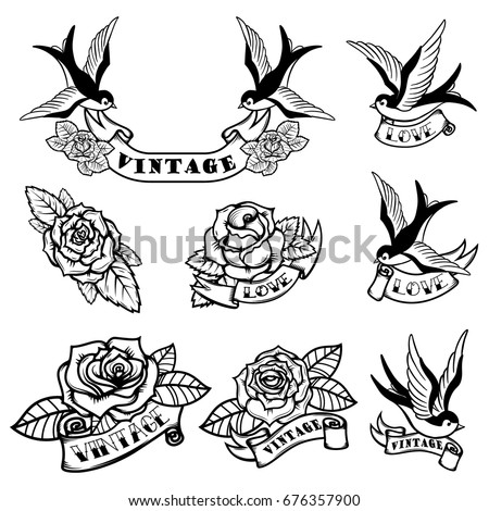Old-school style tattoo card with bird, flowers and ribbon, Vint Stock photo © Elmiko